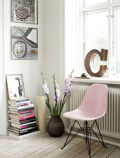 Pink eames chair.