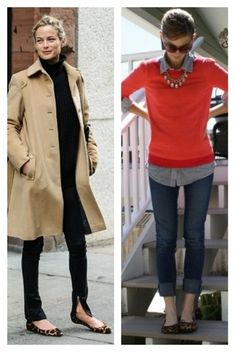 Leopard shoes with 1) Black blouse and Leggings, Beige coat // 2) Chambray shirt, Orange sweater, Jeans - Semi formal Outfit