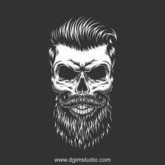 Beard Logo, Beard Tattoo, Skull Rose Tattoos, Art Tattoos, Barber Logo, Barber Shop, Hipster Hairstyles, Skull Illustration, Skull Wallpaper