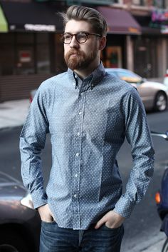 #Menswear #LongSleeve #Shirt #Woven $150 Epaulet's Pin Dot Chambray Is Your New Favorite Shirt | http://four-pins.com/gear/epaulets-pin-dot-chambray-is-your-new-favorite-shirt/