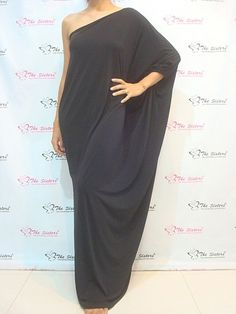 Lady Black Cocktail Long One Shoulder Maxi Dress Plus Size