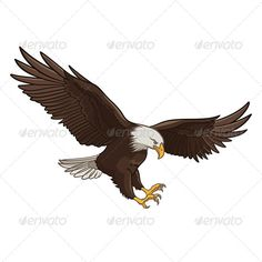 Buy Eagle by AlexeyPushkin on GraphicRiver. Vector illustration of a Bald Eagle, isolated on a white background. Editable (you can use any vector program), . Eagle Images, Eagle Pictures, Small Eagle Tattoo, Eagle Tattoos, Kleiner Adler Tattoo, Eagle Drawing, Phönix Tattoo, Eagle Vector, Eagle Art