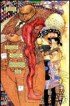 Daredevil, Echo, & The Kingpin in the style of Gustav Klimt. From Daredevil: Echo by David Mack