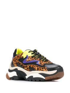 Ash Chunky leopard print sneakers in Black