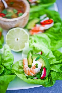 Vietnamese Lettuce wraps with shrimp, avocado and fresh herbs served with Nuoc Cham, a Vietnamese no-oil dressing everyone should know about!