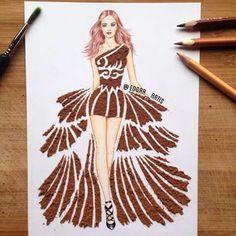 Cayenne pepper fashion art dress by Edgar Artis. Fashion Design Drawings, Fashion Sketches, Arte Fashion, Fashion Illustration Dresses, Illustration Art, Illustrations, Creative Artwork, Amazing Art, Art Drawings
