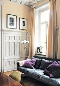 salon-sofa-cuero-gris-oscuro-estilo-nordico-decoracion