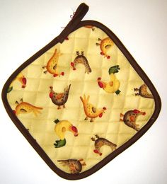 Barnyard Chickens Inuslated Pot Holder. $4.00, via Etsy.