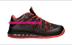 brand new 3351c e5ed8 Lebron 10 Low 579765 001 Black Total Crimson Cheap Lebron James Shoes