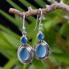 """925 SERLING SILVER BLUE CHALSIDONY FANCY EARRING 5g DJER3985 L-1.50"""" #Handmade…"""