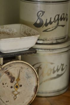 Vintage scale & canisters with Faded Charm.