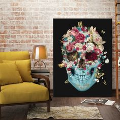 #mulpix . Skull Flowers on canvas . Special limited edition . More info at franciscovalleart@gmail.com .  #decor  #decoracao  #interiordesign  #arte  #art  #casa  #style  #livingroom  #nyc  #manhattan  #europe  #denmark  #berlin  #istanbul  #germany  #dallas  #england  #usa  #losangeles  #mexico  #chile  #uk  #london  #tattoo  #skull  #skulls  #caveira  #fashion  #flowers