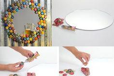 Espelho decorado com tampinhas de garrafa