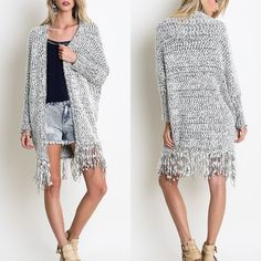 """X """"Twice Shy"""" Fuzzy Fringed Oversized Cardigan Oversized fuzzy cardigan with fringe. Super comfy and fun! True to size. Available in black/white and mocha/white. This listing is for the BLACK/WHITE. Brand new. PRICE FIRM. NO TRADES. Bare Anthology Sweaters Cardigans"""