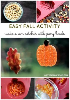 Make a fall themed Melted Pony Bead Sun Catcher! It is easy and gives your child lots of room to be creative! Plus the result is beautiful and a great addition to fall decor! Crafts For Kids To Make, Christmas Crafts For Kids, Fall Crafts, Christmas Projects, Melted Bead Crafts, Pony Bead Crafts, Autumn Activities, Craft Activities For Kids, Craft Ideas