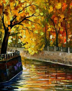 Autumn Canal — Palette Knife Landscape Orange Home Decor Oil Painting On Canvas…