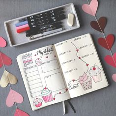 Bullet Journal - Ideas for Weekly Spread - Cupcakes