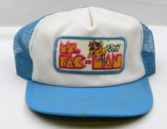 4b9c6026845 Rare Ms. Pac-Man Girl 1982 Vintage Mesh Truckers Hat Snap Back Cap Pacman