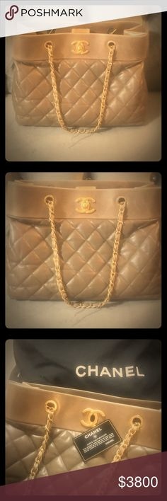 """AUTHENTIC CHANEL HANDBAG! Brand new with tags! This beautiful AUTHENTIC CHANEL handbag, is brand new with tags & dust bag! Purchased from the Chanel store in Paris, this item is currently very rare & extremely hard to find! Beautiful metallic dark camel/tan color with antique gold hardware! Stunning stunning stunning! Approx 11"""" height 15"""" wide. FIRM PRICE please don't offer lower CHANEL Bags Shoulder Bags"""