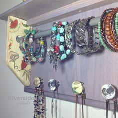 Jewelry Storage Organizer Shabby Chic Hanging by RiversideStudioON