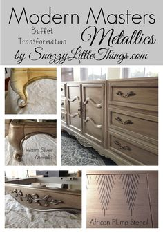 Furniture makeover using Modern Masters metallic paint.  by SnazzyLittleThings.com