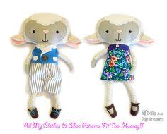 Lamb PDF Sewing Pattern Stuffed Toy Animal Sheep Softie