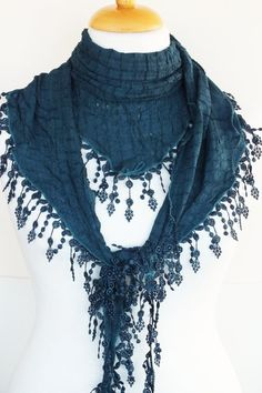 Cotton Scarf With Fringed Lace Fashion For by mediterraneanlights, $16.90