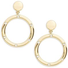 Kate Spade New York Goldie Links Statement Earrings (255 BRL) ❤ liked on Polyvore featuring jewelry, earrings, gold, earring jewelry, pave jewelry, statement earrings, kate spade jewelry and kate spade