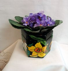 Mini Two Piece Ceramic African Violet Pot Self Watering Assorted Floral Motif Poppy, Daffodil,Daisy  Six Sided Planter on Etsy by artistsloftppaquin1 on Etsy