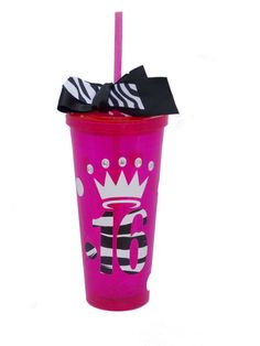 Customized Sweet 16 acrylic 20 ounce cup with screw on lid and straw