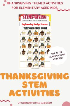 Perfect for K-2/3rd grade and homeschool! Many activities can be modified for preschool and older kiddos as well. A feast of science and STEM with simple experiments and projects for home or classroom! Even More Thanksgiving theme STEM activities with printable sheets, instructions, and useful information all using easy to source materials and perfect for limited time needs. Includes a Thanksgiving theme engineering pack with fun, problem-based challenges for kids to solve! Steam Activities, Holiday Activities, Science Activities, Science Experiments, Activities For Kids, Turkey Disguise, Thanksgiving Words, Engineering Design Process, Math Challenge