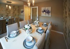 Taylor Wimpey Homes - The Aldenham at Marston Grange, Beaconside, Stafford. French dining room with French Linen upholstered chairs. Wimpey Homes, New Home Developments, Taylor Wimpey, Wimpy, Upholstered Chairs, Dining Rooms, Table Settings, House Ideas, New Homes