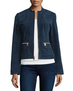 Suede Zip-Front Jacket, Midnight Blue by Neiman Marcus at Neiman Marcus.