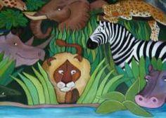 Weird Animals VBS decor ideas - mural