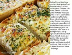 Bubbly cheese and garlic bread