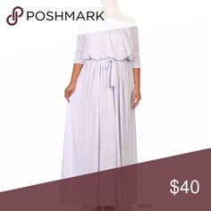 $65 Plus Size White Off Shoulder Maxi Dress Plus Size White Off Shoulder Maxi Dress  Made of stretch polyester, has a sateen look to the material. Dresses Maxi