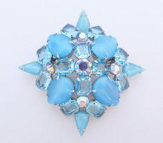 Sky Blue Glass Pin Vintage Aqua Rhinestone by LadyandLibrarian