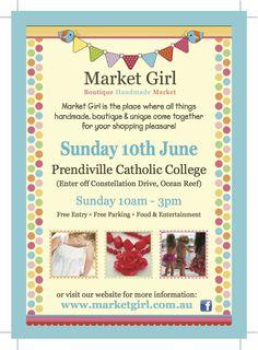 Next Market: Sunday 10th June  Prendiville Catholic College - Ocean Reef, Perth WA  10am - 3pm