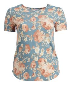 Take a look at this Blue Floral Curve-Hem Tee - Plus today!