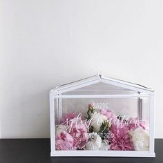 a mini IKEA greenhouse as a card box with calligraphy
