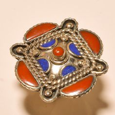 LAPIS LAZULI WITH RED CORAL AMAZING LOOK!! .925 SILVER JEWELRY RING ADJUSTABLE #Handmade