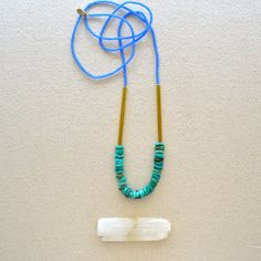 HALF OFF Earth from Above Necklace- Variegated Turquoise with Matte Sapphire Glass and Raw Brass
