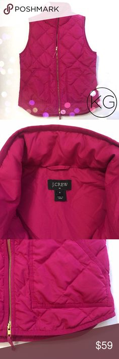 "J. Crew Quilted Puffer Vest in Bright Pink In excellent pre-owned condition, like new! •J. Crew Factory •Women's size S •Beautiful fuchsia color with gold hardware •100% Polyester, 100% Polyester Lining, Minimum 60% Down Fill •19"" from underarm to underarm, 25"" from shoulder to hem •Retail $98 🚫no trades nor lowball offers🚫 Thank you for shopping in my closet! J. Crew Factory Jackets & Coats Vests"