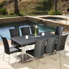 @Overstock - Christopher Knight Home Fairfield 9-piece Outdoor Dining Set - Enjoy the scenery with this nine-piece outdoor dining set from Christopher Knight Home. This set features a distinctive all-black wicker design. Constructed for eight people, this set is sure to provide enough room for friends and family.  http://www.overstock.com/Home-Garden/Christopher-Knight-Home-Fairfield-9-piece-Outdoor-Dining-Set/7818809/product.html?CID=214117 $887.99