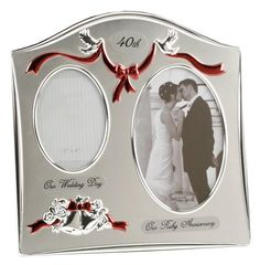Two Tone Silver Plated 40th Ruby Anniversary Double Picture Frame By Haysom Interiors -- More info could be found at the image url.