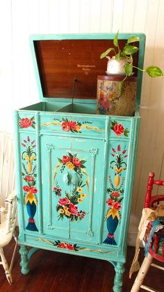 painted old radio cabinet