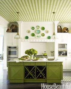 """In a Purchase, New York, kitchen, designer Gideon Mendelson created a green gingham ceiling that giving a classic white kitchen some major personality. """"And it brings extremely high ceilings down to a more comfortable place,"""" he says. - HouseBeautiful.com"""