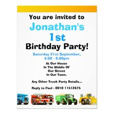 Baby Boy's Construction Trucks 1st Birthday Party Card