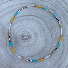 Surf Necklace, Beaded Choker Necklace, Beaded Anklets, Seed Bead Necklace, Diy Necklace, Necklaces, Bead Jewellery, Seed Bead Jewelry, Cute Jewelry