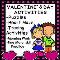 Do you need Valentine activities for your students? Enjoy these puzzles, tracing worksheets and more! Great for morning work, centers, and seat work. Tracing Worksheets are great for practicing fine motor skills. Contents include: --Heart Maze, KEY provided --Heart Puzzle, in color